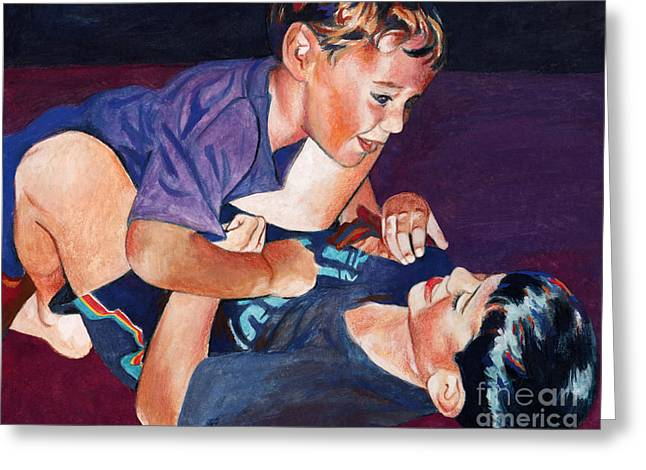 Wrestling Brothers Greeting Card by Deanna Yildiz