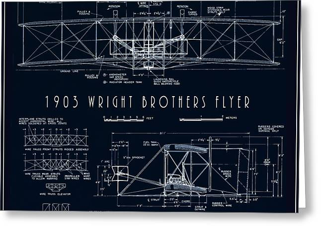 Wright Bros Flyer Aeroplane Blueprint  1903 Greeting Card by Daniel Hagerman