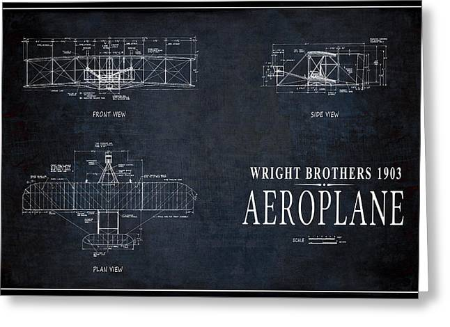 Wright Brothers 1903 Aeroplane Pinline Border Greeting Card by Daniel Hagerman