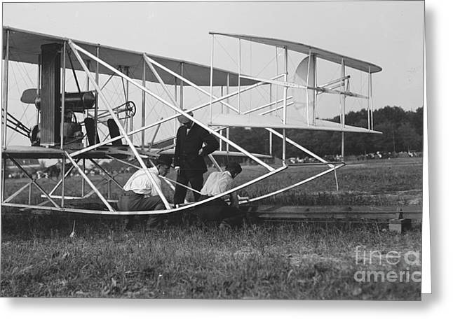 Wright Brothers Biplane On Launch Track 1909 Greeting Card