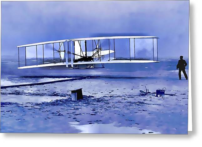 Wright Brothers First Flight Graphic Greeting Card by Dan Sproul
