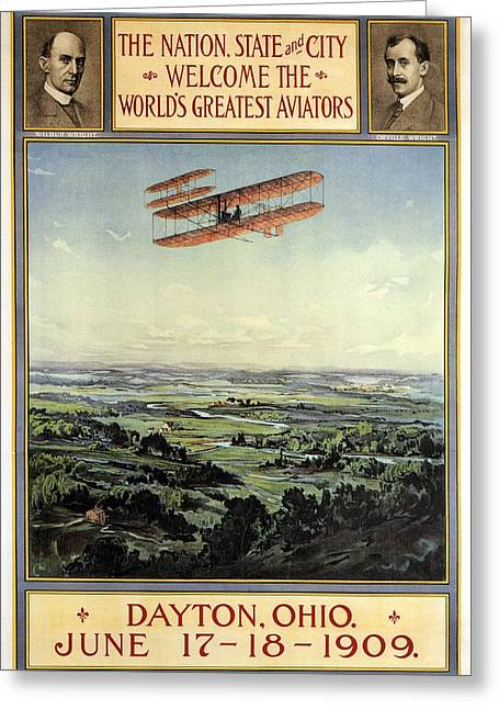 Wright Brothers - World's Greatest Aviators - Dayton, Ohio - Retro Travel Poster - Vintage Poster Greeting Card