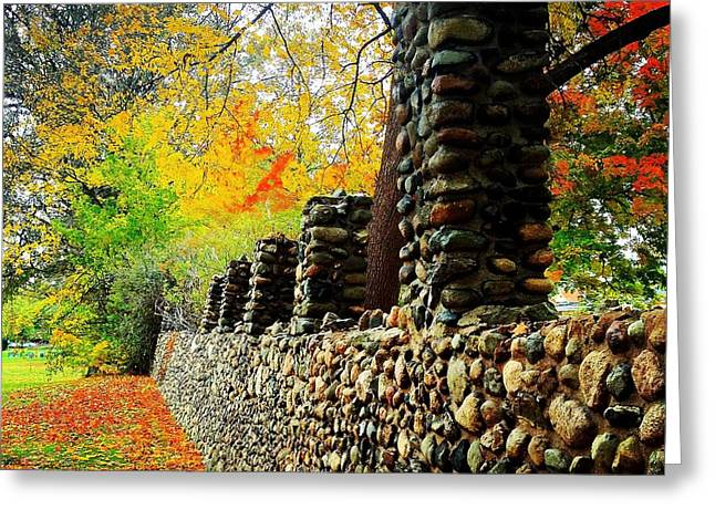 Wright Park Stone Wall In Fall Greeting Card