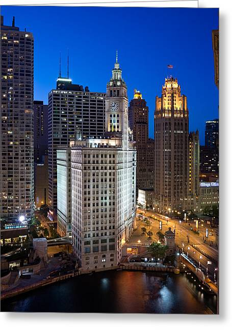Wrigley Building Night Greeting Card by Steve Gadomski