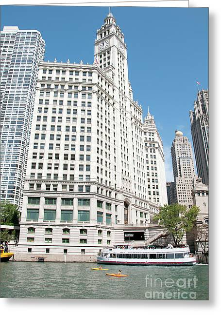 Wrigley Building Overlooking The Chicago River Greeting Card