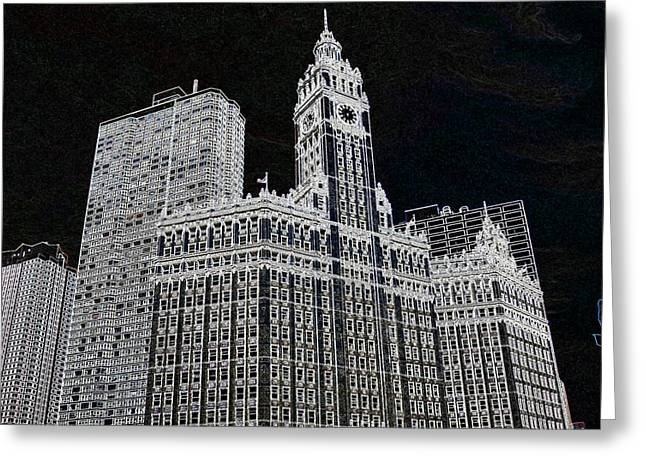 Wrigley Building Greeting Card by Rosemary Babikan