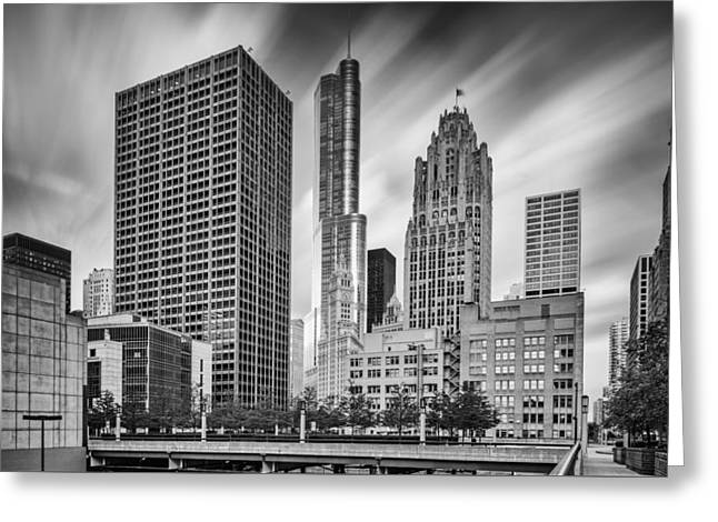 Wrigley Equitable Buildings - Trump Chicago Tribune Tower - Black White - Chicago Illinois Greeting Card