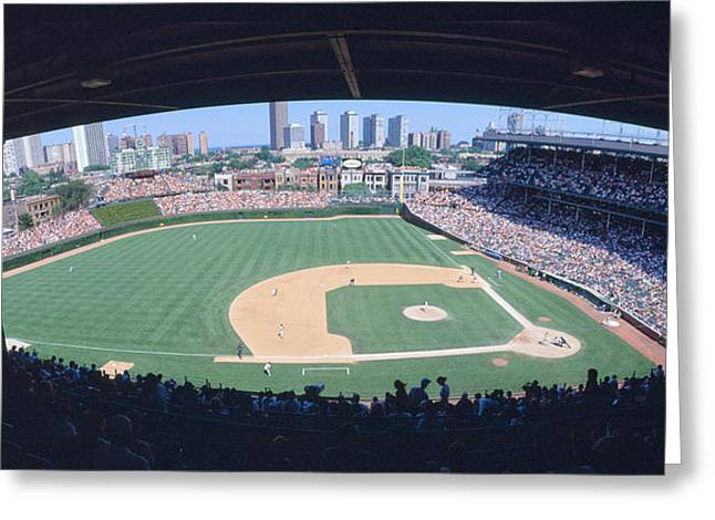 Baseball Game Photographs Greeting Cards - Wrigley Field, Chicago, Cubs V Greeting Card by Panoramic Images