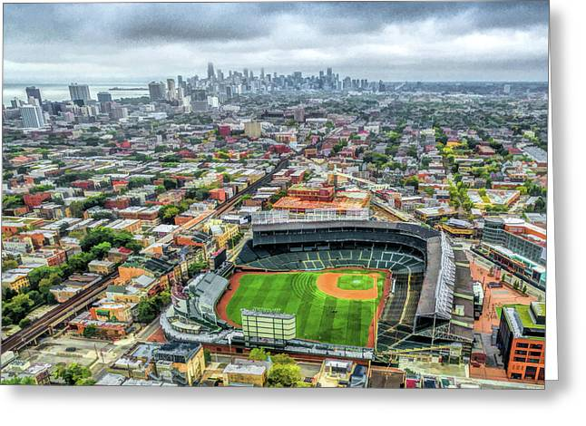 Wrigley Field Chicago Skyline Greeting Card
