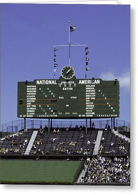 Wrigley Field Classic Scoreboard 1977 Greeting Card