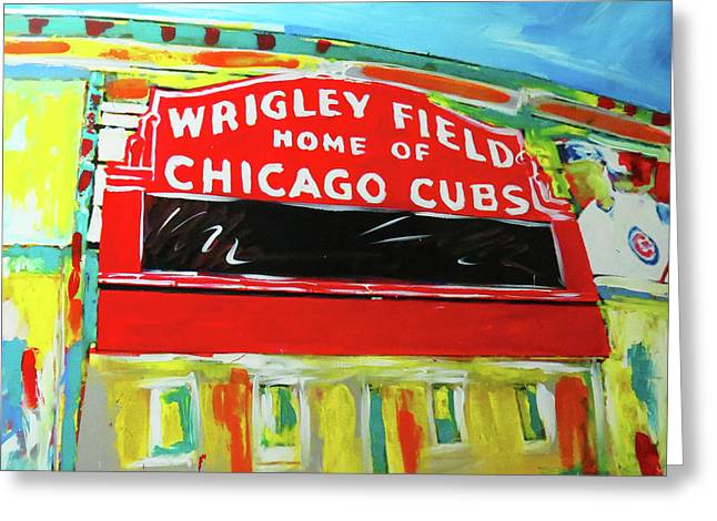 Wrigley Field Greeting Card by Elliott From