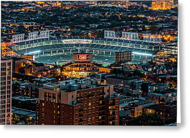 Wrigley Field From Park Place Towers Dsc4678 Greeting Card by Raymond Kunst