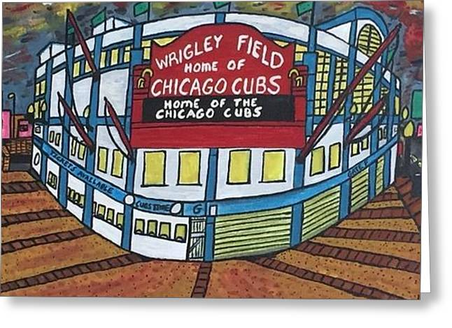 Wrigley Field Home Of Chicago Cubs. Greeting Card by Jonathon Hansen
