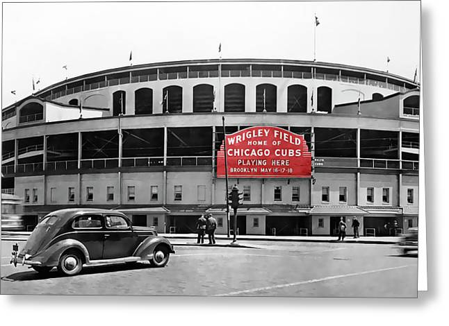 Wrigley Field - Home Of The Cubs C. 1939 Greeting Card by Daniel Hagerman