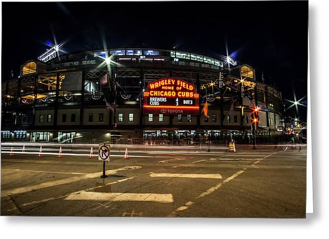 Wrigley Field Marquee At Night Greeting Card