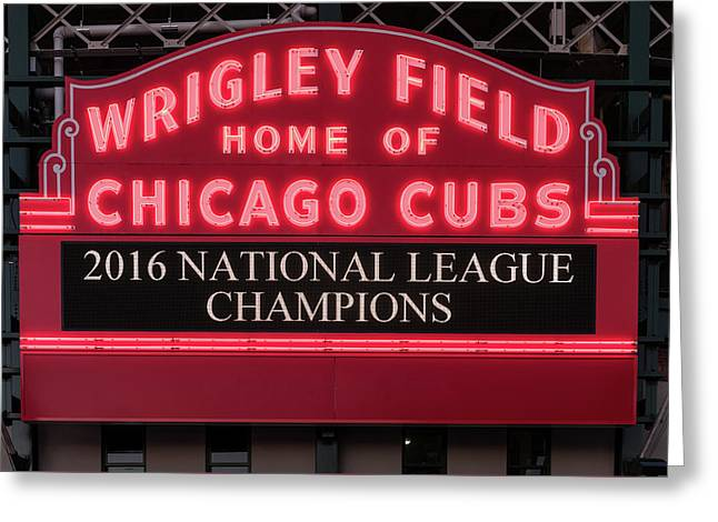 Wrigley Field Marquee Cubs Champs 2016 Front Greeting Card by Steve Gadomski