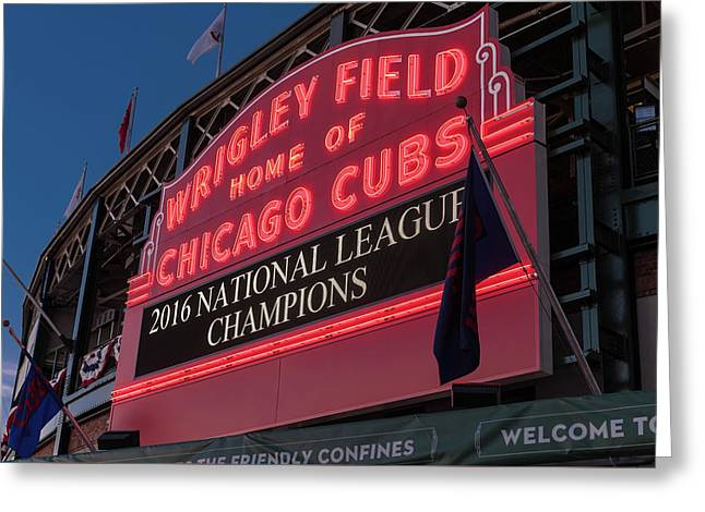 Wrigley Field Marquee Cubs National League Champs 2016 Greeting Card by Steve Gadomski