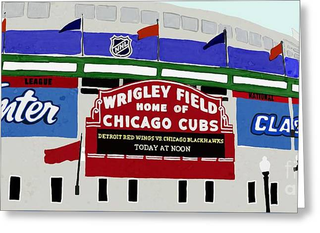 Wrigley Field Greeting Card by Priscilla Wolfe