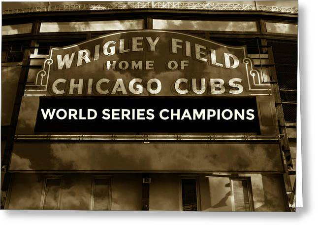 Wrigley Field Sign - Vintage Greeting Card by Stephen Stookey
