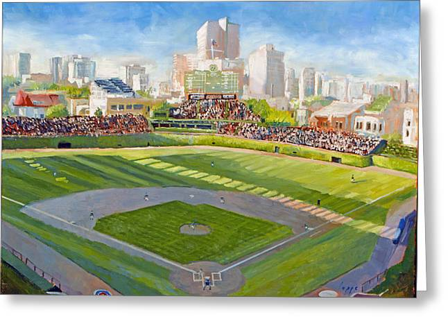 Wrigley Field Greeting Card by Steve Lappe