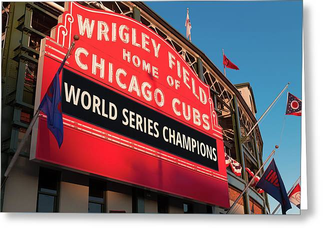 Wrigley Field World Series Marquee Angle Greeting Card by Steve Gadomski