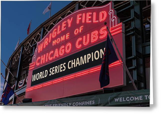 Wrigley Field World Series Marquee Greeting Card by Steve Gadomski