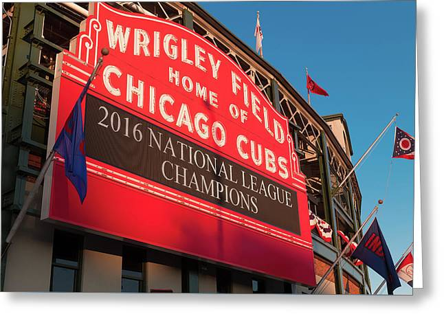 Wrigley Field Marquee Angle Greeting Card by Steve Gadomski