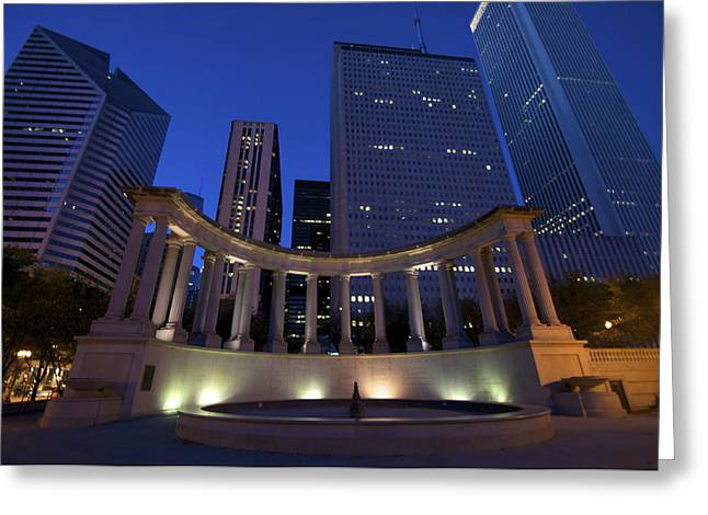 Wrigley Square At Night Greeting Card