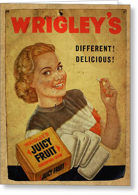 Wrigleys Juicy Fruit Chewing Gum Vintage Ad Poster Greeting Card by Design Turnpike