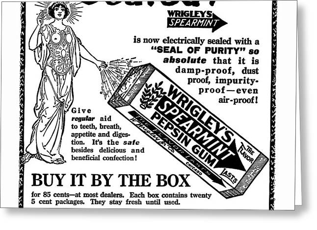 Wrigley's Pepsin Gum Electrically Sealed  1914 Greeting Card by Daniel Hagerman