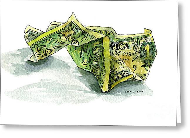 Wrinkled Dollar Greeting Card