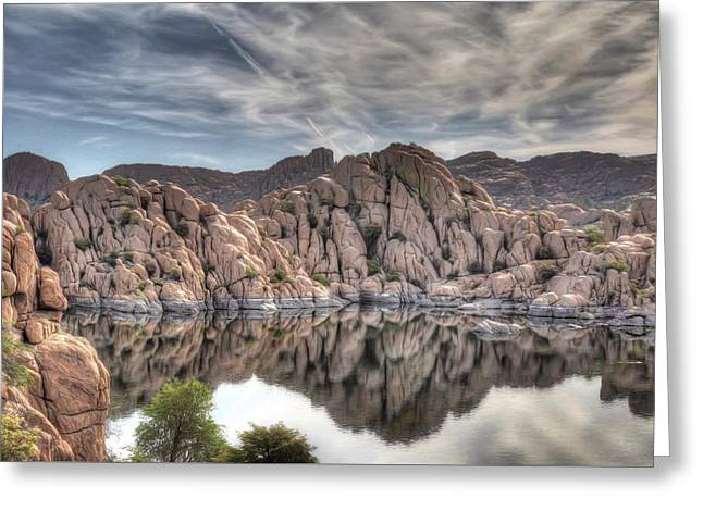 Wrinkled Reflections Greeting Card by Donna Kennedy