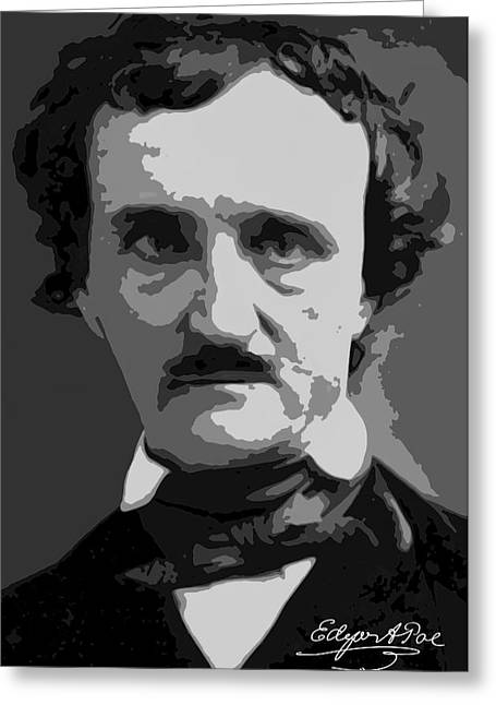 Writer Edgar Allan Poe Greeting Card by Daniel Hagerman