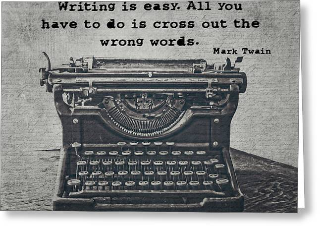 Writing According To Twain Greeting Card by Emily Kay