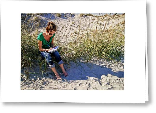 Writing In A Journal At The Beach Greeting Card by Matt Plyler