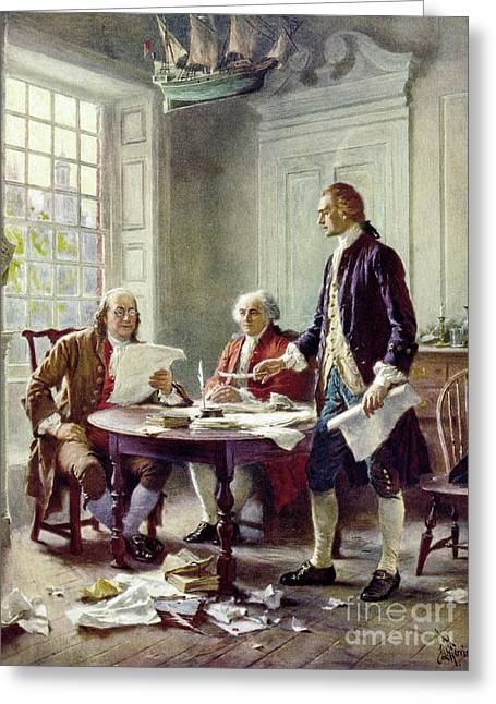 Writing The Declaration Of Independance Greeting Card