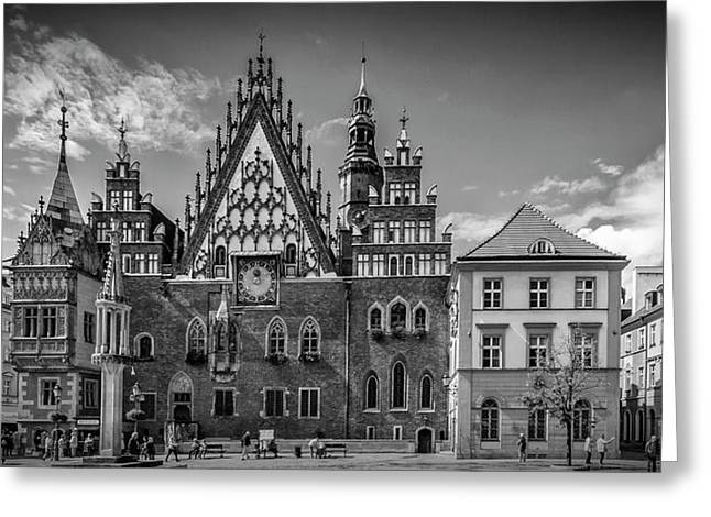 Wroclaw Main Market Square And Town Hall - Panorama Monochrome Greeting Card