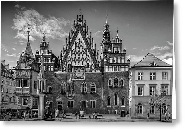 Wroclaw Main Market Square And Town Hall - Panorama Monochrome Greeting Card by Melanie Viola