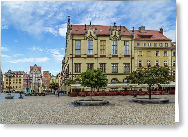 Wroclaw Market Square, New Town Hall And Tenement Houses Greeting Card