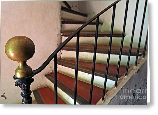 Wrought Iron Handrail Of An Old Staircase Greeting Card by Sami Sarkis