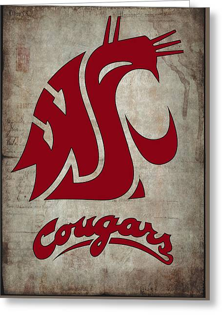 W S U Cougars Greeting Card by Daniel Hagerman