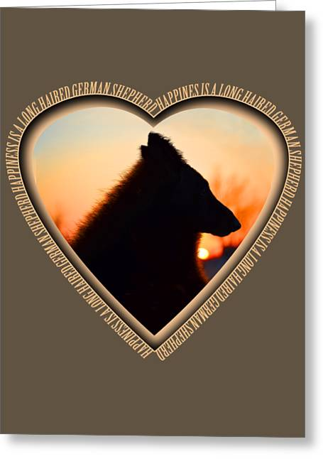 Wuffstar Happiness Is A Long Haired German Shepherd Heart Greeting Card