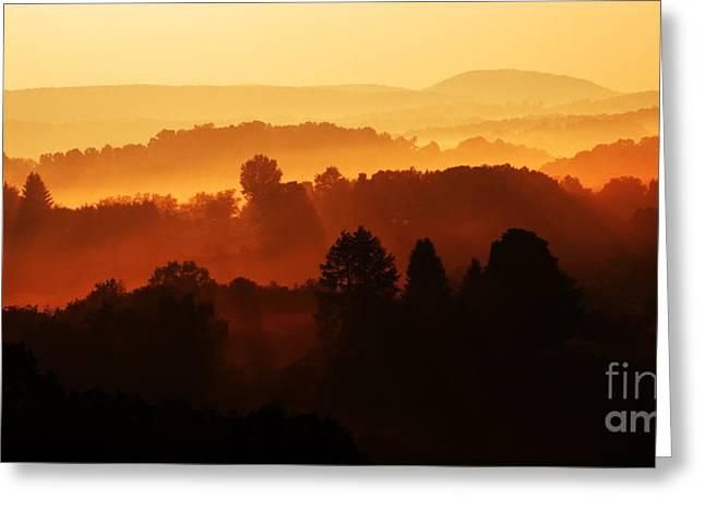 Wv Misty Mountain Sunrise Mirror Image Greeting Card by Thomas R Fletcher