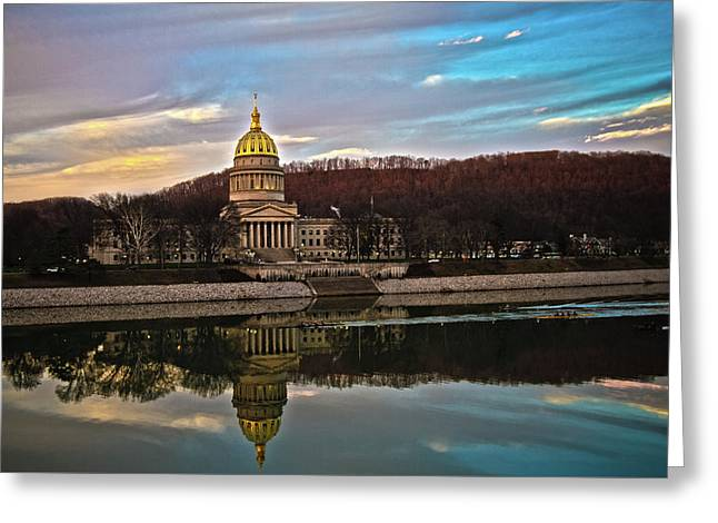 Wv State Capitol At Dusk Greeting Card