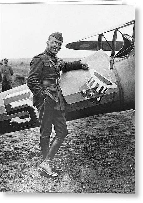 Ww1 Flying Ace Eddie Rickenbacker Somewhere In France Circa 1918 Greeting Card by David Lee Guss