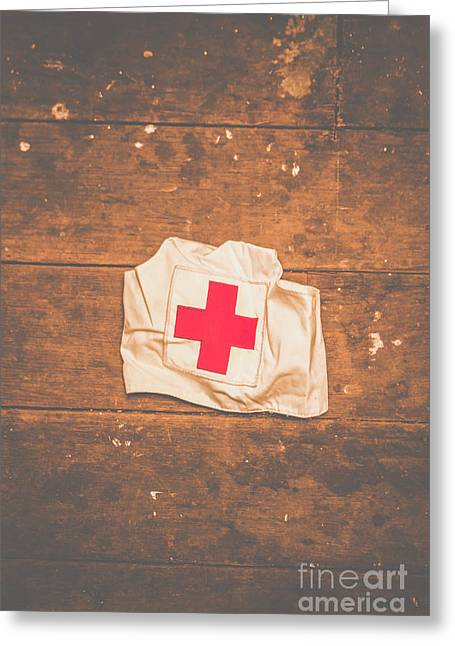 Ww2 Nurse Cap Lying On Wooden Floor Greeting Card by Jorgo Photography - Wall Art Gallery