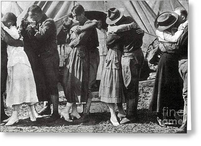 Wwi, Doughboys Kiss Sweethearts Goodbye Greeting Card