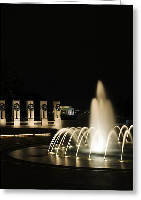 Greeting Card featuring the photograph Wwii Memorial Fountain by Angela DeFrias
