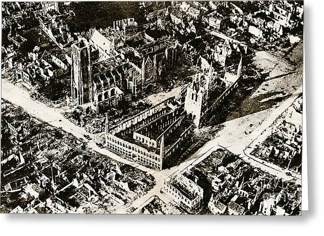 Wwi, Ruins Of Ypres, 1915 Greeting Card by Science Source