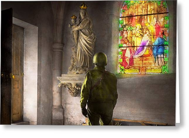Wwii - A Prayer For Courage 1940 Greeting Card by Mike Savad